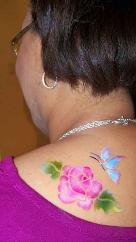 Rose and Butterfly Airbrush Tattoo